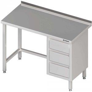 Stół przyścienny z blokiem trzech szuflad (P),bez półki 1700x600x850 mm
