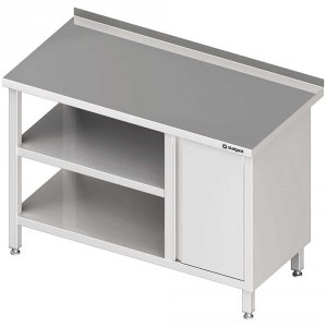 Stół przyścienny z szafką (P),i 2-ma półkami 1800x700x850 mm