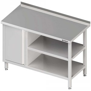 Stół przyścienny z szafką (L),i 2-ma półkami 1500x700x850 mm