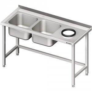 Stół przyścienny ze zlewem bez półki z otworem 1700x700x850 mm, 2-komory po lewej spawany