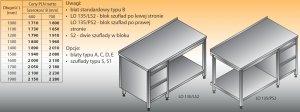 Stół roboczy z blokiem szuflad i półką lo 135/s2 - 1300x600