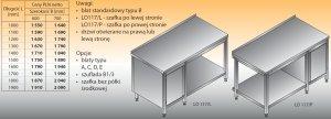 Stół roboczy z szafką i półką lo 117/l; lo 117/p 1300/600