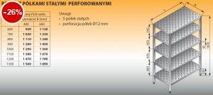 Regał z półkami stałymi perforowanymi lo 604 - 1300x400