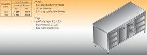 Stół roboczy z dwoma blokami szuflad i szafką lo 146/s3 - 1800x600
