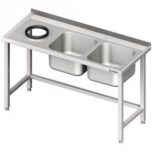 Stół przyścienny ze zlewem bez półki z otworem 1400x700x850 mm, 2-komory po prawej spawany