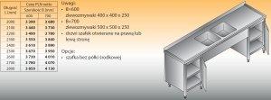 Stół zlewozmywakowy 2-zbiornikowy lo 250 - 2600x700