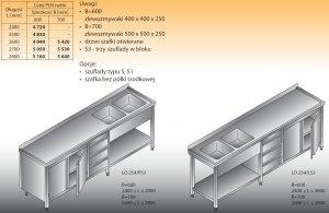 Stół zlewozmywakowy 2-zbiornikowy lo 254/s3 - 2800x700