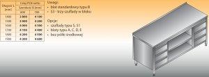 Stół roboczy z dwoma blokami szuflad i szafką otwartą lo 144/s3 - 1700x600