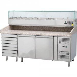 stół chłodniczy 2 drzwiowy, 600x400 mm, do pizzy z szufladami i nadstawą