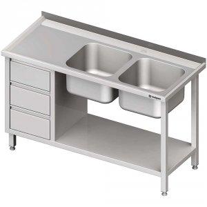 Stół ze zlewem 2-kom.(P), z blokiem trzech szuflad i półką 1900x600x850 mm