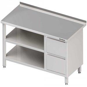 Stół przyścienny z blokiem dwóch szuflad (P),i 2-ma półkami 1800x700x850 mm