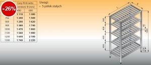 Regał z półkami stałymi ociekowymi lo 603 - 1300x600