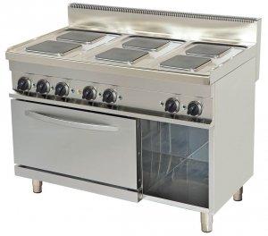 Kuchnia elektryczna  ER732K | 6-palnikowa | z piekarnikiem elektrycznym | 1200x700x900 | linia 700