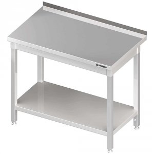 Stół stalowy z półką, przyścienny, skręcany, 1500x700x850 mm
