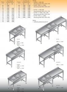 Stół zlewozmywakowy 2-zbiornikowy lo 231 - 2800x700