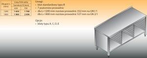 Stół z prowadnicami na pojemniki gn lo 113 1800/600