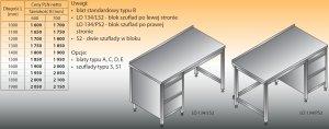 Stół roboczy z blokiem szuflad lo 134/s2 - 1200x700