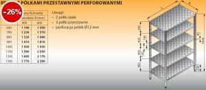 Regał z półkami przestawnymi perforowanymi lo 607 - 1300x400