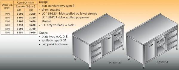 Stół roboczy z blokiem szuflad i szafką lo 138/s3 - 1400x600