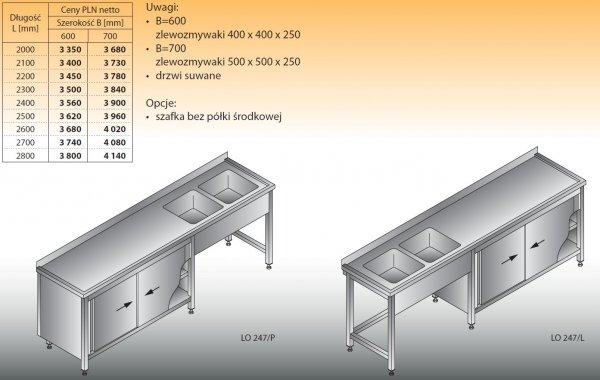 Stół zlewozmywakowy 2-zbiornikowy lo 247 - 2000x600