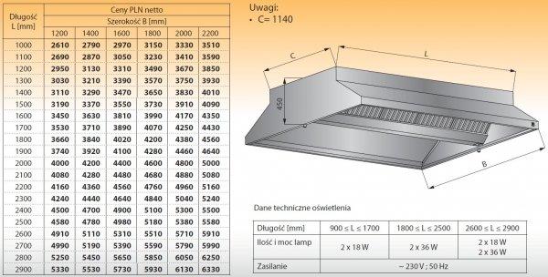 Okap centralny z oświetleniem lo 911 - 1300x2200