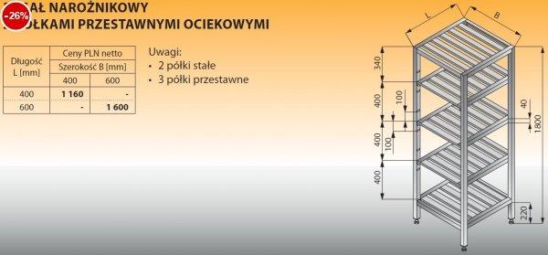 Regał narożnikowy z półkami przestawnymi ociekowymi lo 609 - 400x400