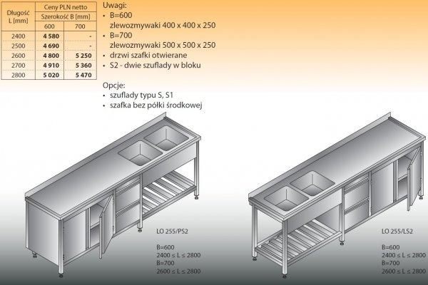 Stół zlewozmywakowy 2-zbiornikowy lo 255/s2 - 2400x600