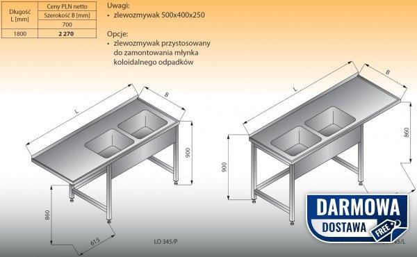 Stół zlewozmywakowy 2-zbiornikowy lo 345 prawy Lozamet