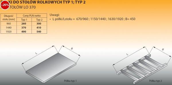 Półki do stołów rolkowych typ 1/960 Lozamet