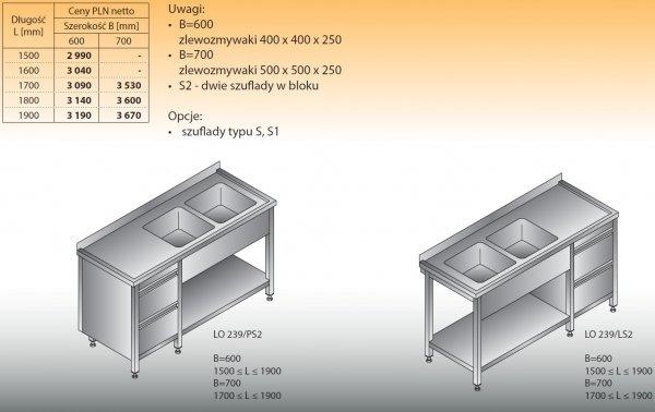 Stół zlewozmywakowy 2-zbiornikowy lo 239/s2 - 1500x600