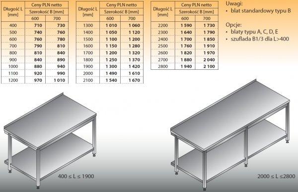 Stół roboczy lo 102 800/600
