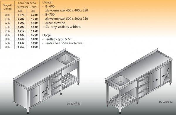 Stół zlewozmywakowy 1-zbiornikowy lo 228/s3 - 2000x600
