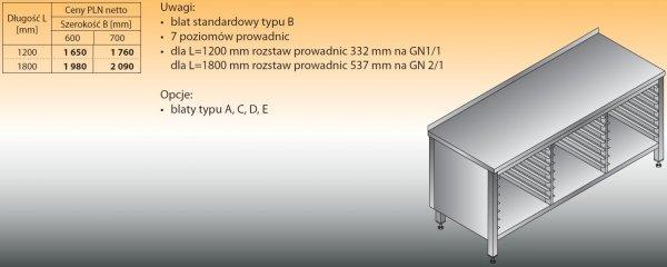 Stół z prowadnicami na pojemniki gn lo 113 1800/700