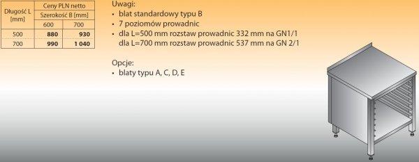 Stół z prowadnicami na pojemniki gn lo 111 700/700