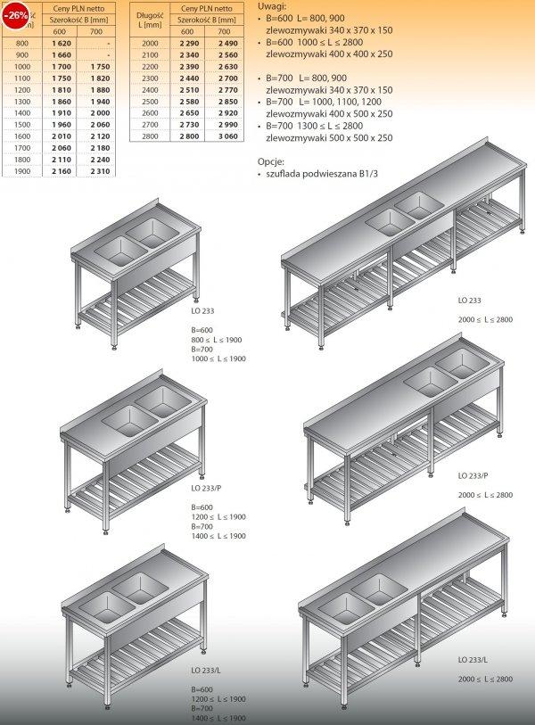 Stół zlewozmywakowy 2-zbiornikowy lo 233 - 800x600