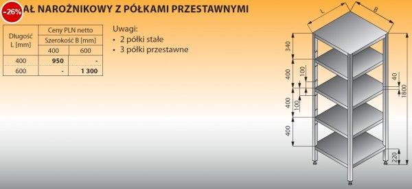 Regał narożnikowy z półkami przestawnymi lo 608 - 400x400