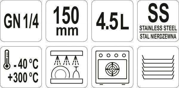 POJEMNIK GASTRONOMICZNY ZE STALI NIERDZEWNEJ GN 1/4 150MM 4,5L