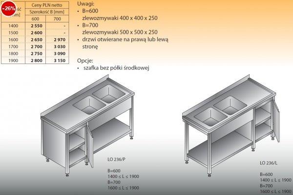Stół zlewozmywakowy 2-zbiornikowy lo 236 - 1400x600
