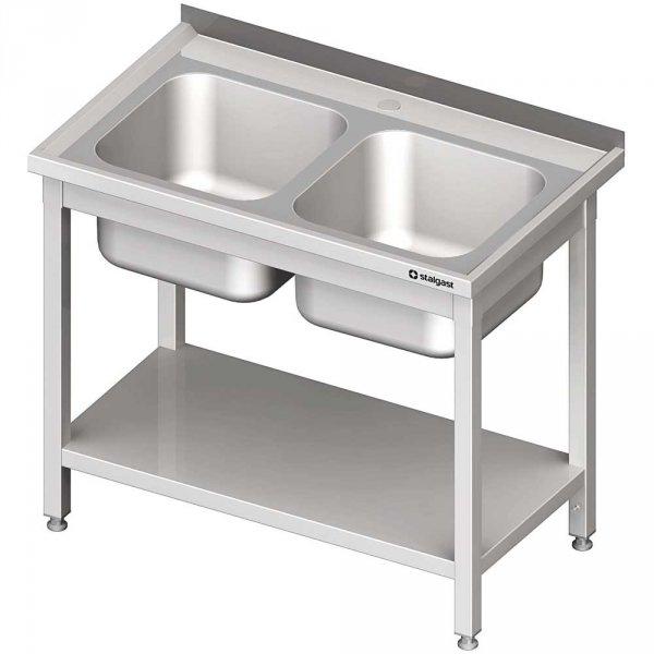stół stalowy z półką ze zlewem 2-komorowym, spawany, blat tłoczony, 1000x700x850 mm