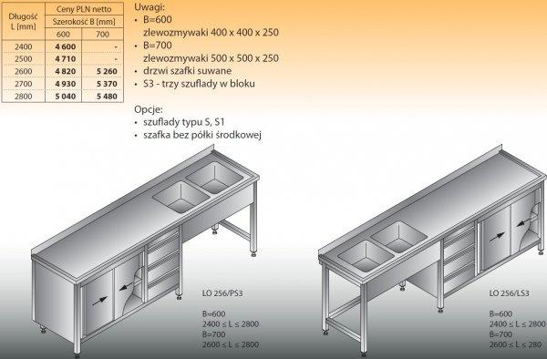 Stół zlewozmywakowy 2-zbiornikowy lo 256/s3 - 2400x600
