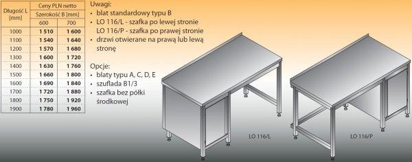 Stół roboczy z szafką lo 116/l; lo 116/p 1300/700