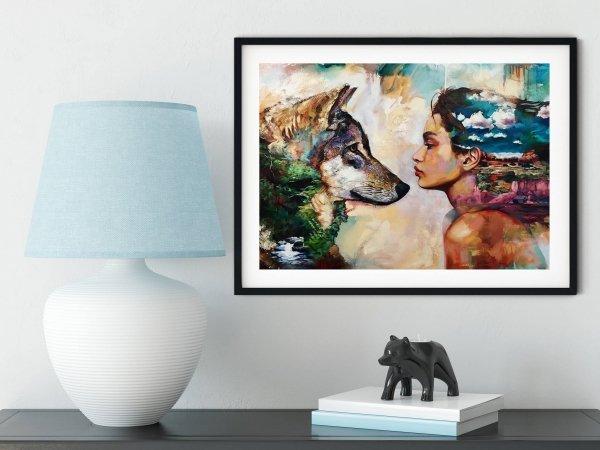 Haft Diamentowy Kobieta i Wilk 45x55 cm K