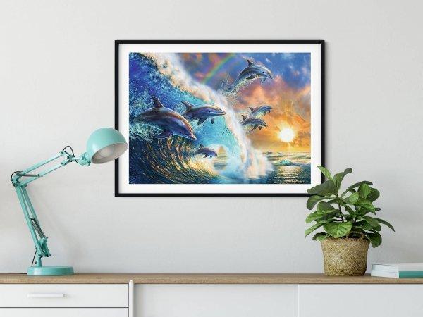 Haft Diamentowy Wesołe Delfinki 45x60 cm K