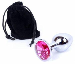 Metal Silver klasyczna mała wtyczka analna z różowym kryształkiem