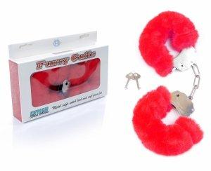 Furry Cuffs solidne kajdanki z grubym czerwonym futerkiem