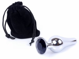 Metal Silver klasyczna wtyczka analna z czarnym kryształkiem
