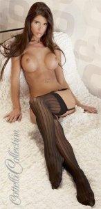 Czarne pończochy Cottelli Collection w seksowne paski roz. M