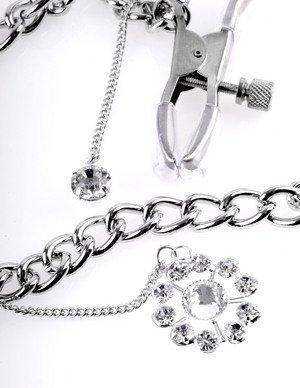 Crystal Nipple Clamps łańcuszek z zaciskami na sutki i kryształkami zoom