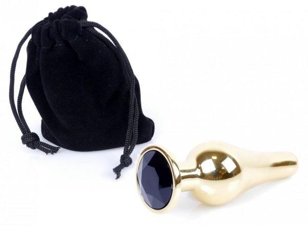 Metal Gold klasyczna wtyczka analna z czarnym kryształkiem