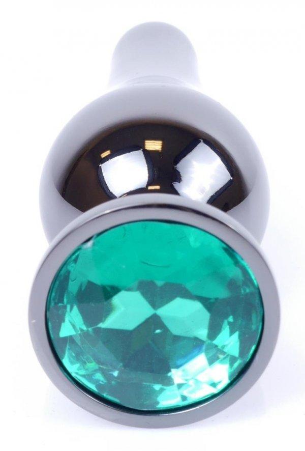 Metal Dark klasyczna wtyczka analna z zielonym kryształkiem